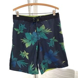 Speedo Floral Tropical Print Navy Board Shorts